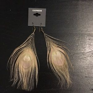 Tan Feather Earrings from Express.